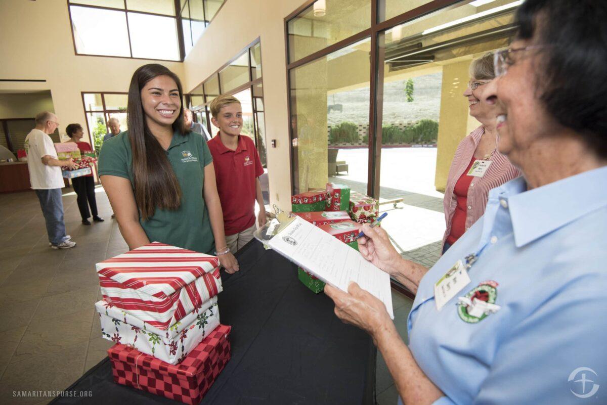 Volunteers receiving Shoebox Christmas gifts in Orange County, CA