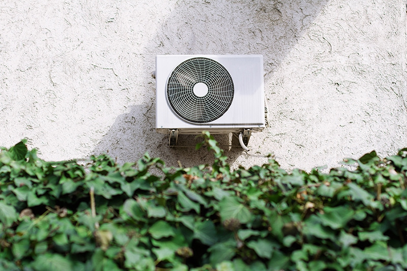 Air conditioning unit behind a green leaves wall, How Does Your Central Air Conditioner Cool Your Home? | San Jose, CA